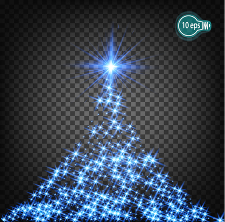 magic realistic lighting effects to decorate the Christmas tree. Isolated Sparks. Transparent pattern of glowing geranium christmas trees for the design of Xmas Holiday greeting cards. Happy New Year