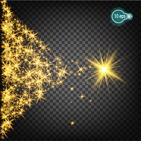 Magically flying a Christmas star is a realistic light effect. Isolated stream of stars light. Transparent template of the impetuous car for the design of Xmas Holiday greeting cards Happy New Year Illustration