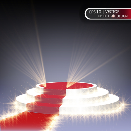 The white podium is multilevel on a transparent background with a red path and spotlighting the spotlights. The vector illustration of the eps 10.