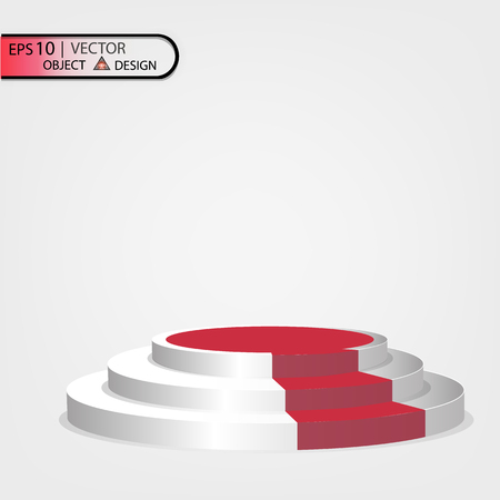 White podium multilevel on a transparent background with a red path. Vectors illustration of an eps 10.