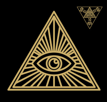 delta: All-seeing eye, or radiant delta - Masonic symbol, symbolizing the Great Architect of the Universe, watching the works of Freemasons Depicted as the eye inscribed in treugolnik.Geometriya vector