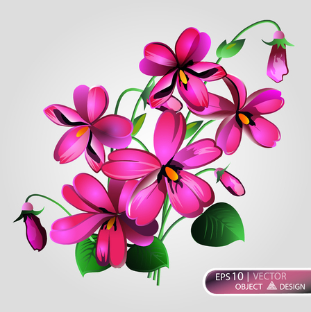 Violet Floral background is isolated on a white background. Vector illustration