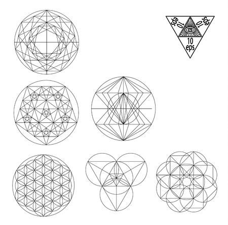 Sacred geometry symbols and signes vector illustration. Hipster tattoo. Flower of life symbol. Metatrons Cube. Illustration