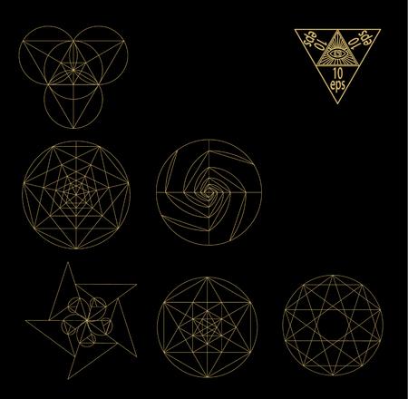 numerology: Sacred geometry symbols and signes vector illustration. Hipster tattoo. Flower of life symbol. Metatrons Cube. Illustration
