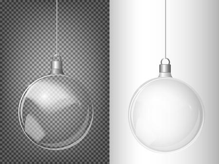 Boule de verre transparente de Noël. Éléments de décorations de Noël. Objet vectoriel transparent pour la conception, la mise en page. Un jouet brillant avec une lueur argentée. Objet isolé. Illustration vectorielle