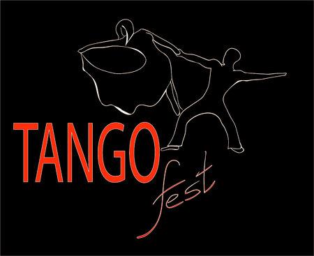 passionate tango festival one line vector