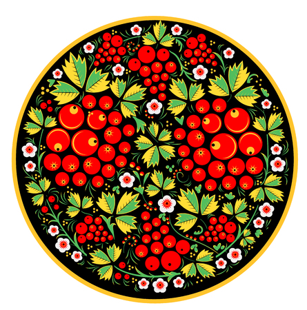 Russian style. The style of Khokhloma on the font. A symbol in the style of a Russian doll on a white background.