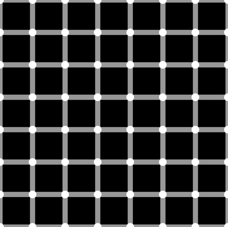 Optical illusion. White circles flash on black squares and change color.