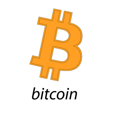 Bitcoin logo of crypto currency isolated on white background. Block sticker for bitocones for web pages or printing. Logo bitcoins .Vector illustration Illustration