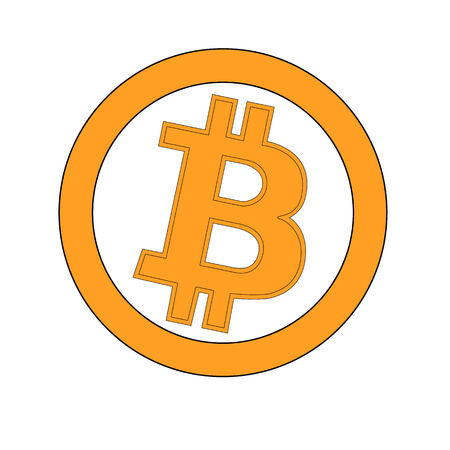 peer to peer: Bitcoin gold coin of crypto currency isolated on white background. Block sticker for bitocones for web pages or printing. Logo bitcoins .Vector illustration.