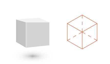solids: cube is a geometric figure. Hipster Fashion minimalist design. Film solid bodies. cube flat design vector illustration, fine art line. Vector illustration. Illustration