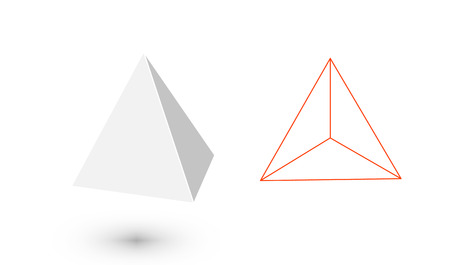 Tetrahedron is a geometric figure. Hipster Fashion minimalist design.Platonic solids. Tetrahedron flat design vector illustrations, thin line art. Vector illustration. Ilustração