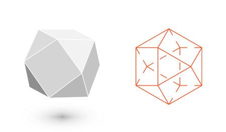 cuboctahedron is a geometric figure. Hipster Fashion minimalist design. Film solid bodies. cuboctahedron flat design vector illustration, fine art line. Vector illustration.