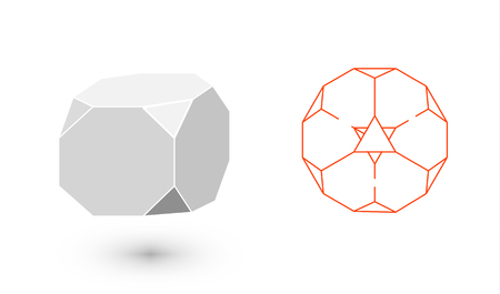 Truncated Cube is a geometric figure. Hipster Fashion minimalist design. Film solid bodies. Truncated Cube flat design vector illustration, fine art line. Vector illustration.