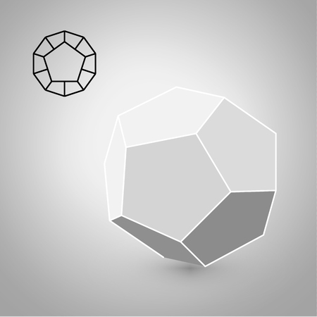 solids: dodecahedron is a geometric figure. Hipster Fashion minimalist design. Film solid bodies. dodecahedron flat design vector illustration, fine art line. Vector illustration.