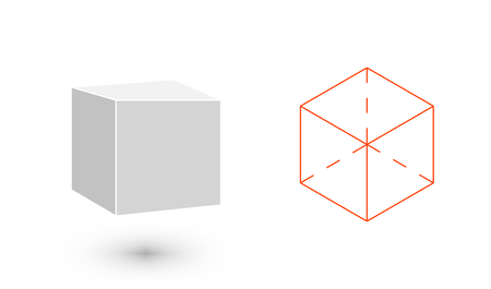 cube is a geometric figure. Hipster Fashion minimalist design. Film solid bodies. cube flat design vector illustration, fine art line. Vector illustration. 版權商用圖片 - 88775597