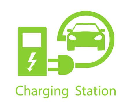 Charging for electric vehicles. Logo Road sign template of electric vehicle. Vector illustration of a minimalistic flat design Illustration
