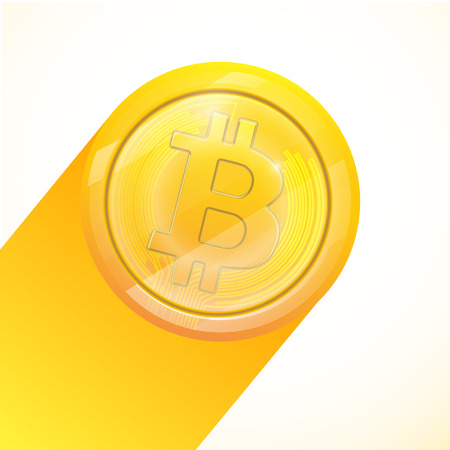Bitcoin gold coin of crypto currency isolated on white background. Block sticker for bitocones for web pages or printing. Logo bitcoins . Illustration
