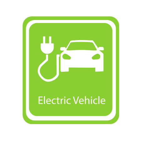 Road sign template of electric vehicle. Vector illustration of minimalistic flat design Illustration