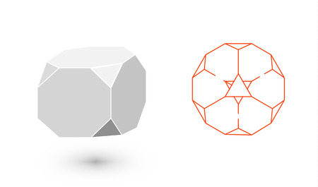 solids: Truncated Cube is a geometric figure. Hipster Fashion minimalist design. Film solid bodies. Truncated Cube flat design vector illustration, fine art line. Vector illustration