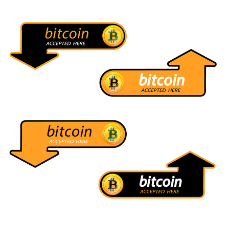 Bitcoin  of crypto currency with an inscription accepted here on a black background. Block sticker for slabbarking organizations for web pages or printing.  bitcoins .Vector illustration