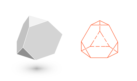 Trancahed tetrahedron is a geometric figure. Hipster Fashion minimalist design. Film solid bodies. Trancahed tetrahedron flat design vector illustration, fine art line. Vector illustration. Illustration