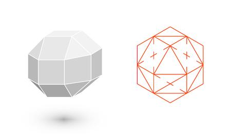 solids: Rhombicuboctahedron is a geometric figure. Hipster Fashion minimalist design. Film solid bodies. Rhombicuboctahedron flat design vector illustration, fine art line. Vector illustration.