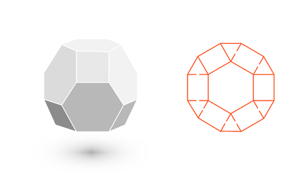 solids: Truncated octahedron is a geometric figure. Hipster Fashion minimalist design. Film solid bodies. Truncated octahedron flat design vector illustration, fine art line. Vector illustration. Illustration