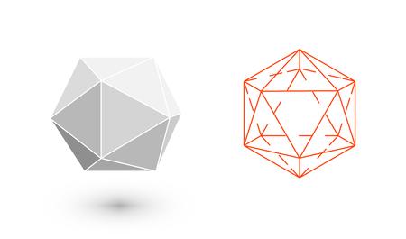 solids: Icosahedron is a geometric figure. Hipster Fashion minimalist design. Film solid bodies. Icosahedron flat design vector illustration, fine art line. Vector illustration. Illustration