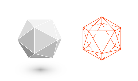 Icosahedron is a geometric figure. Hipster Fashion minimalist design. Film solid bodies. Icosahedron flat design vector illustration, fine art line. Vector illustration. Illustration