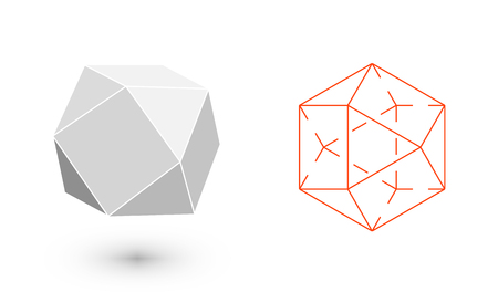 solids: cuboctahedron is a geometric figure. Hipster Fashion minimalist design. Film solid bodies. cuboctahedron flat design vector illustration, fine art line. Vector illustration