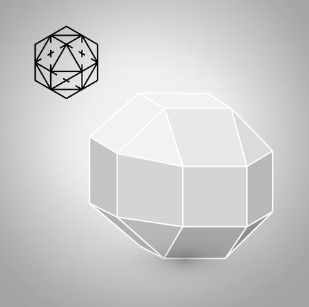 solids: rhombicuboctahedron is a geometric figure. Hipster Fashion minimalist design. Film solid bodies. rhombicuboctahedron flat design vector illustration, fine art line.