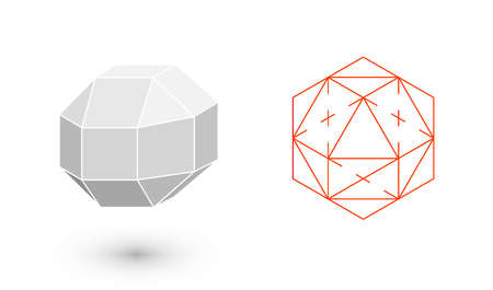 rhombicuboctahedron is a geometric figure. Hipster Fashion minimalist design. Film solid bodies. rhombicuboctahedron flat design vector illustration, fine art line. Vector illustration