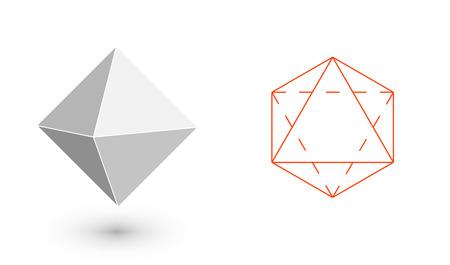 octahedron - geometric figure. Hipster Fashion minimalist design. Film solid bodies. octahedron flat design vector illustration, fine art line. Vector illustration