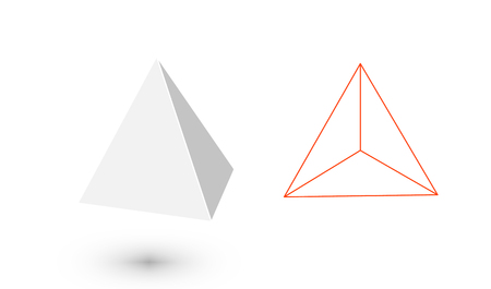 Tetrahedron is a geometric figure. Hipster Fashion minimalist design.Platonic solids. Tetrahedron flat design vector illustrations, thin line art. Vector illustration