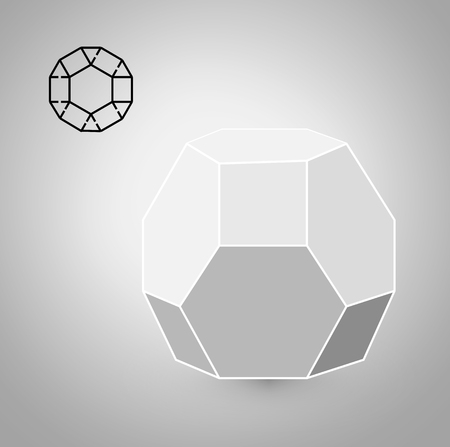 solids: dodecahedron is a geometric figure. Hipster Fashion minimalist design. Film solid bodies. dodecahedron flat design vector illustration, fine art line. Illustration