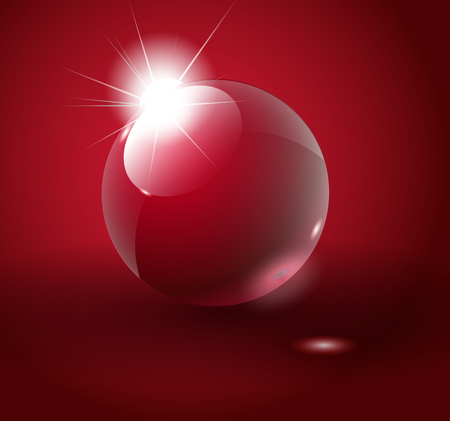 Shiny red ball vector. Transparent vector object for design, layout