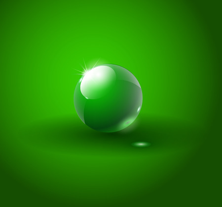 Shiny grean ball vector. Transparent vector object for design, layout