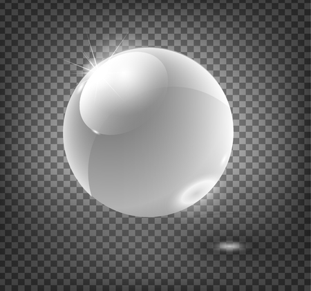 Glass sphere, blue 3D vector ball. Vector illustration. Ilustração