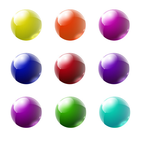 shiny buttons: Set of multicolored glass buttons with shadows