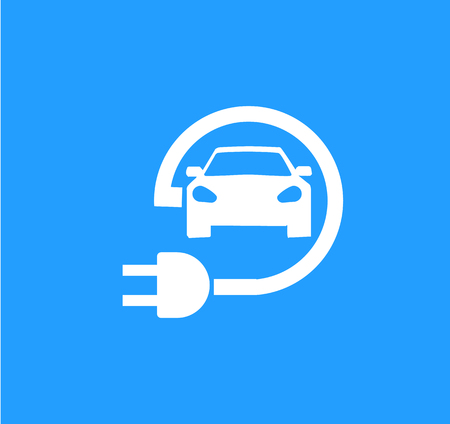 Road sign template of electric vehicle. Vector illustration of minimalistic flat design Ilustração
