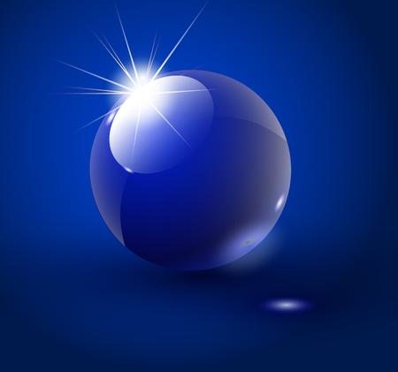 Glass sphere blue 3D vector ball. Vector illustration. Illustration