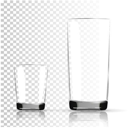 Set of transparent glasses goblets, Transparent photo realistic vector illustration. Vettoriali