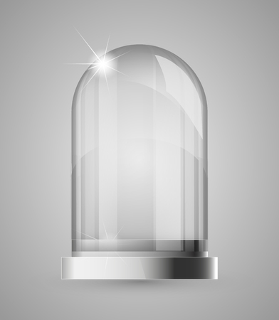Magic crystal flask of glass. Empty snow bulb. White transparent glass flask on a stand. Vector christmas glass bulb on transparent background. Transparent object for design, mock-up Illustration