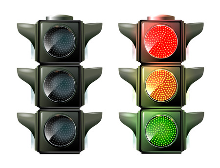 Traffic lights isolated on white photo-realistic vector illustration