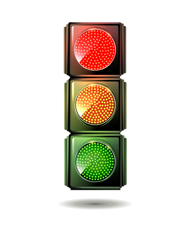 Traffic light isolated. Vector. Archivio Fotografico - 95999277