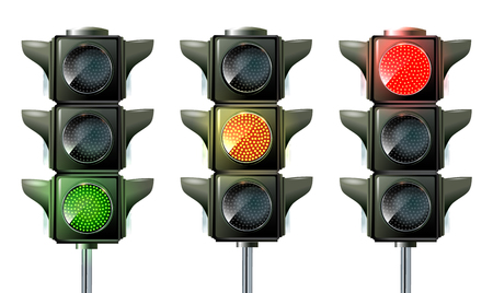 Traffic light, traffic light sequence vector. Red, yellow, green lights - Go, wait stop