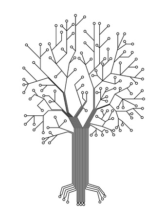 Microchip background vector illustration.chip in the form of a tree. Vector wallpaper Vettoriali