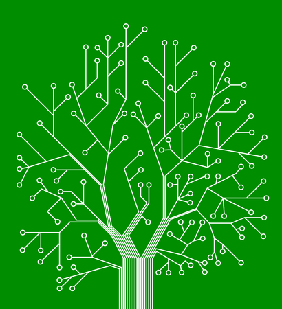 Microchip background vector illustration. chip in the form of a tree. Vector wallpaper