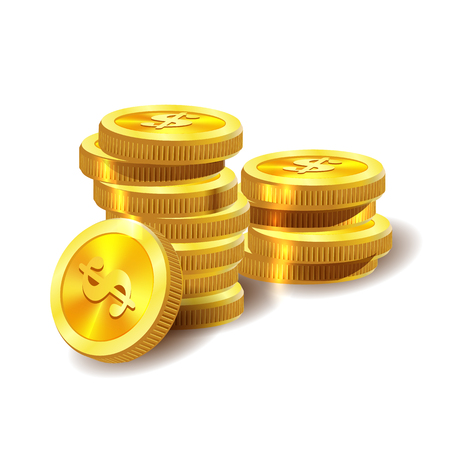 Vector Illustration of golden coins. Money isolated on white. Illustration